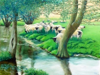 Sheep at Ellerburn near Thornton Yorkshire oil painting by Barbara King